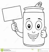 Soda Coloring Cartoon Blank Character Cheerful Holding Banner Fahne Nette Colouring sketch template