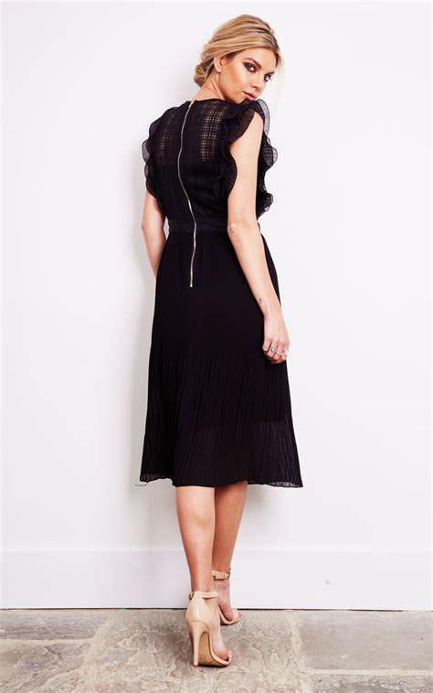 pleated a line midi dress black lace pleated a line midi dress silkfred