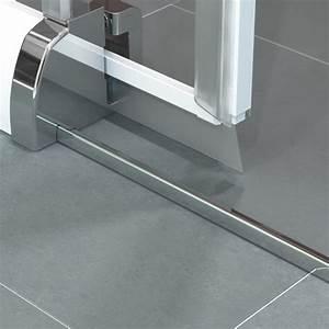 porte coulissante java sans seuil 78 85cm profile chrome With porte d entrée alu avec carrelage douche salle de bain