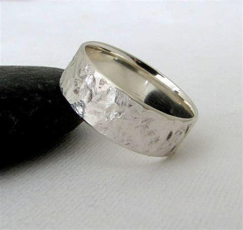 mens wedding band silver bark wedding ring hammered silver