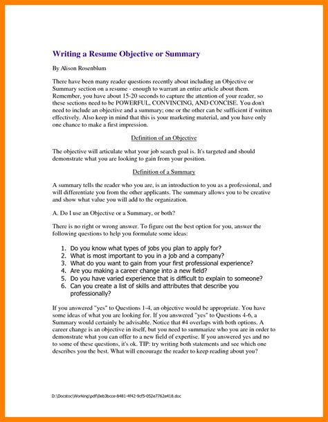 resume summary exles 8 sle resume summary
