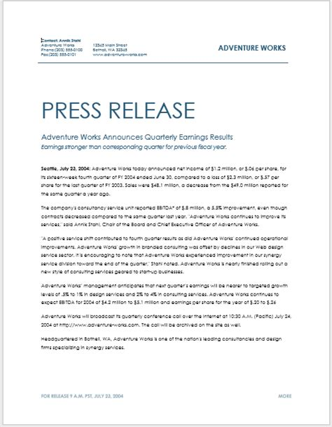 press release template   samples ms word docs