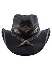 Black Leather Cowboy Hats for Men