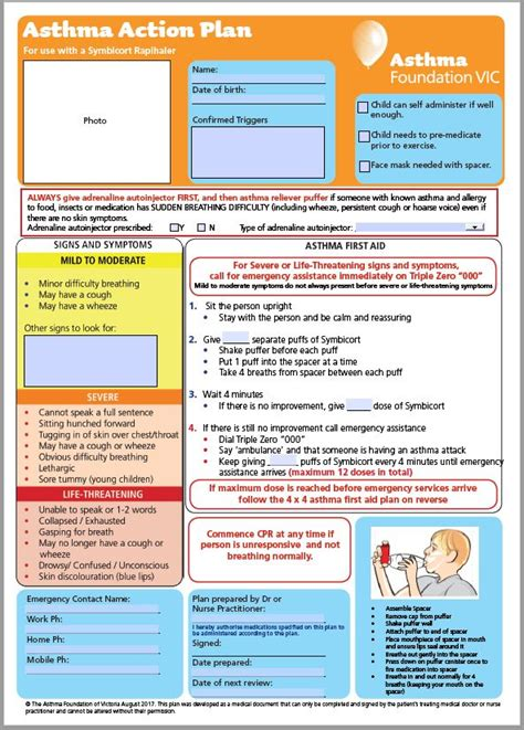My Asthma Action Plan Template