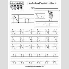 Letter N Writing Practice Worksheet  Free Kindergarten English Worksheet For Kids