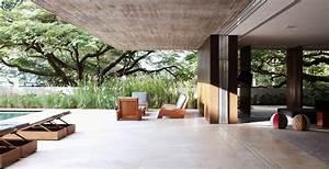 Terrace Glass Doors Concrete House In So Paulo Brazil