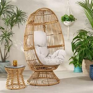 Adaline, Outdoor, Wicker, Swivel, Egg, Chair, With, Cushion, Light, Brown, Beige, -, Walmart, Com