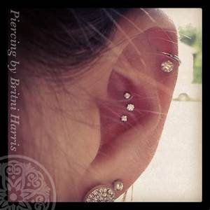 Triple conch piercing done with Neometal pushpins with ...