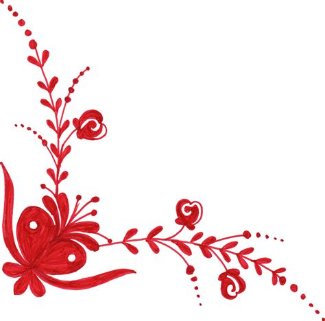 red flower corner ornament png transparent onlygfxcom