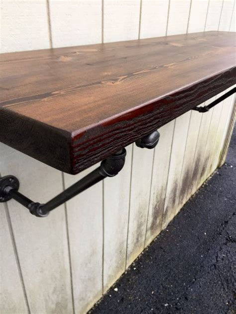 lodge mantel wall mounted bar table shelf reclaimed