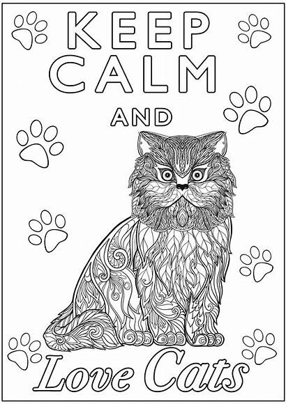 Cats Calm Keep Coloring Cat Pages Fish