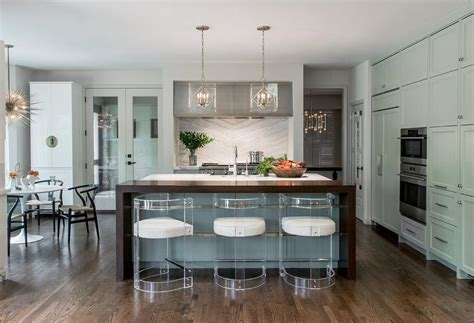 Gray Kitchen Island with Gold Trim   Contemporary   Kitchen