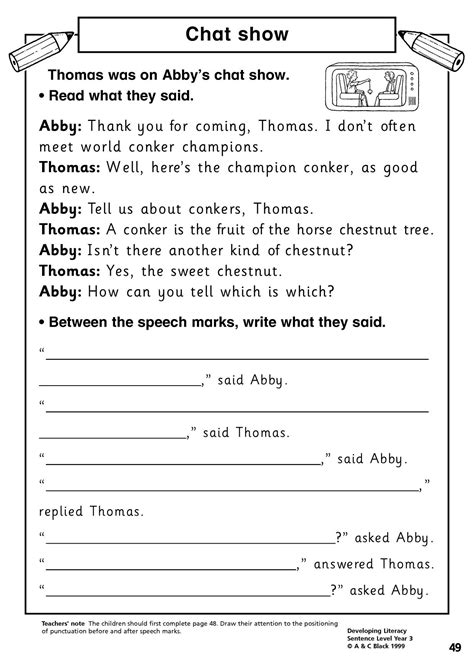 Direct Speech Punctuation Worksheets Pdf  Speech Marks Skills Workshopdirect Ks2 Examples