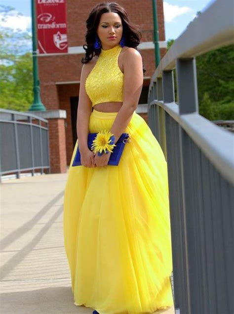 Two Piece Jewel Floor-Length Open Back Yellow Prom Dress with Beading - Special Occasion Dresses ...