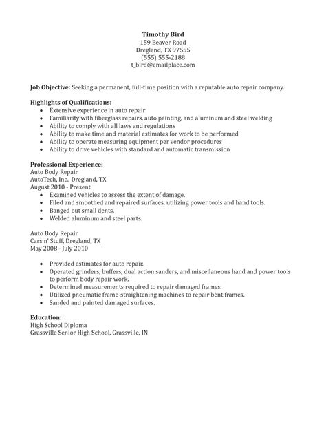 Auto Shop Resumeauto Shop Resume by Auto Repair Resume Sle