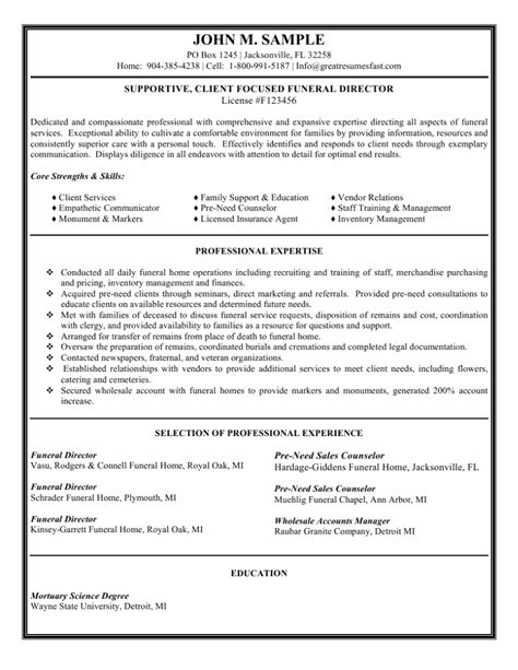 Funeral Director Resume Search by Funeral Director Resume