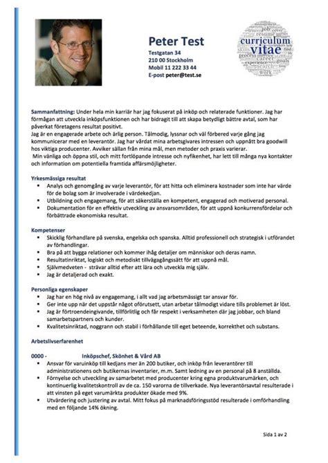 cv med resume och kompetensprofil 2 sidor skrivansokan