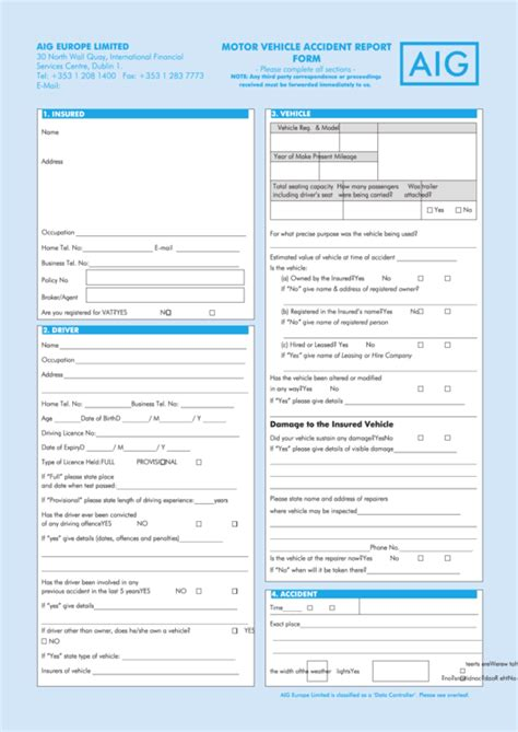 motor vehicle accident report form printable