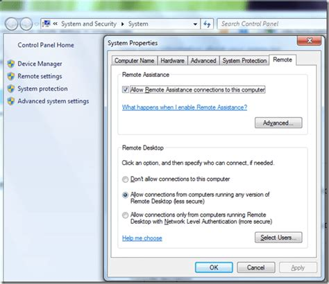 how to enable remote desktop as host in windows 7 and vista next of windows