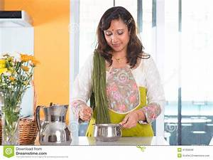 Indian Housewife Preparing Food Stock Photo - Image: 41350649