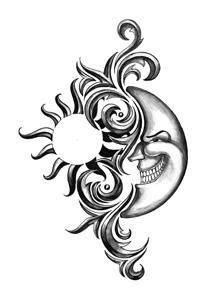 Tribal sun/moon for every dark night there is a brighter day. Description from pinterest.com. I