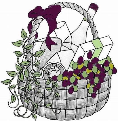 Basket Gift Baskets Raffle Clip Clipart Wine