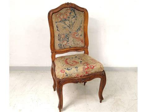 chaise dossier haut design chaise à châssis louis xv noyer sculpté tapisserie fleurs chair xviiième