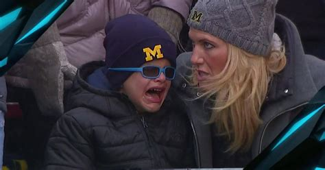 michigan  wisconsin jim harbaughs son crying