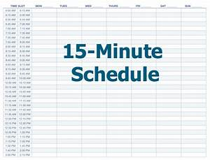 Best photos of free printable daily schedule template 15 for Daily calendar 15 minute increments template