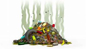 Garbage Dump With Flies. 3D Animation In Cartoon Style ...