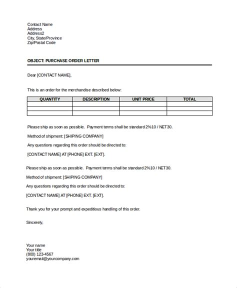 Po Excel Template Sle Order Letter 8 Documents In Pdf Word
