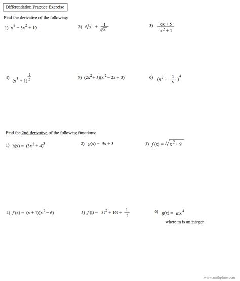 pictures derivative worksheet with answers getadating