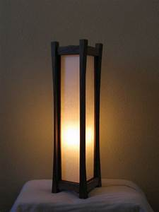 Black walnut floor lamp with tarditional washi paper shade for Floor lamps made of paper