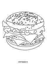Coloring Cheeseburger Fast Foods Coloringpage Eu sketch template