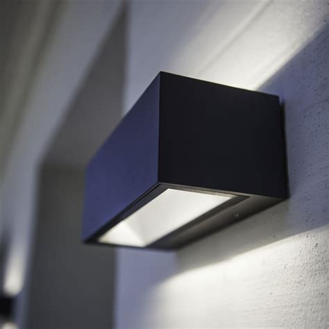 lutec gemini brick medium 20w exterior led up and wall light in graphite fitting style