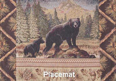 bear family rustic cabin table runners  placemats