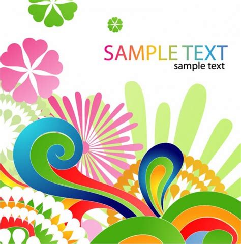 colorful floral design abstract background vector free