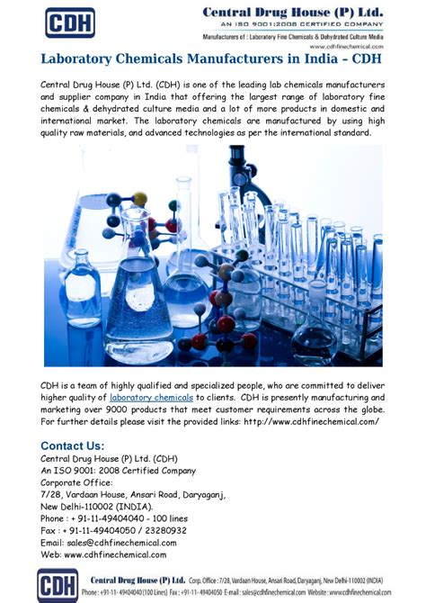 Laboratory Chemicals Manufacturers India Cdh