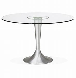 Table Verre Ronde : table repas ronde plateau verre pied alu bross legines ~ Teatrodelosmanantiales.com Idées de Décoration