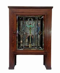 antique craftsman cabinet with stained glass door chairish With kitchen cabinets lowes with decorative glass plate wall art
