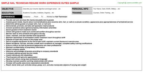 nail technician resume sle