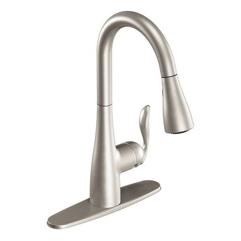 kitchen faucets lowes shop moen arbor stainless 1 handle deck mount pull