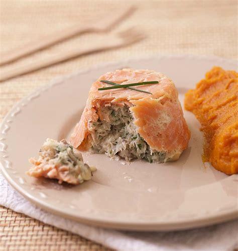 cuisine recette poisson terrines de saumon fumé au poisson blanc chignons et