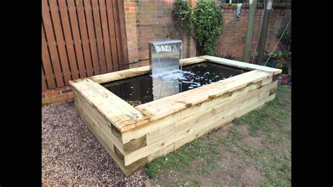 shower water filter raised railway sleeper pond installed by w jarvis