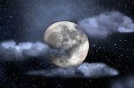 Night Sky with Moon and Stars