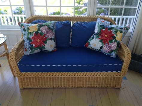 Wicker Settee Cushions by Trudy Dujardin Wicker Settee With Navy Blue Upholstered