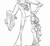 Coloring Belly Dance Flamenco Dancer Getcolorings Printable sketch template