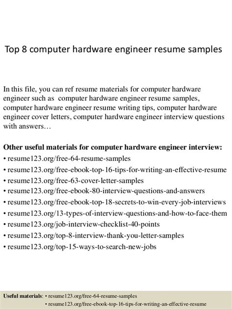 hardware engineer experience resume top 8 computer hardware engineer resume sles