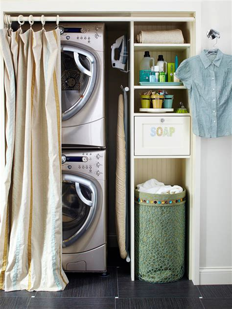 closet turned laundry area with stackable front loading
