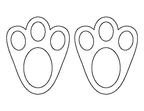 easter bunny paw print pattern   printable outline  crafts creating stencils